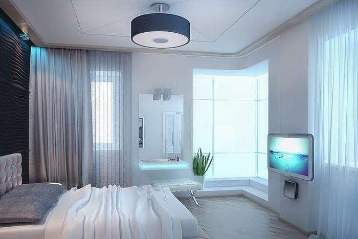 спальня частного дома в белых тонах