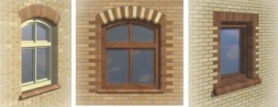 Обрамление окон на фасаде дома кирпичом, фото